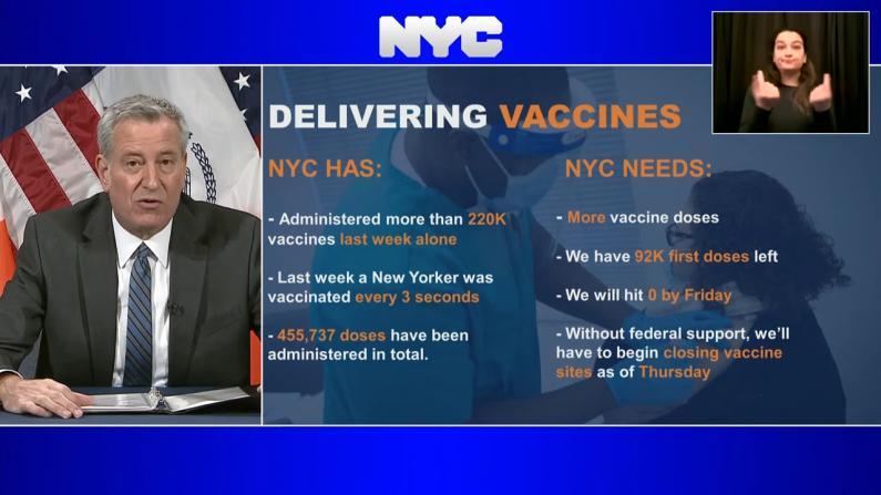 纽约市疫苗供应本周五耗尽 疫苗中心或被迫关门