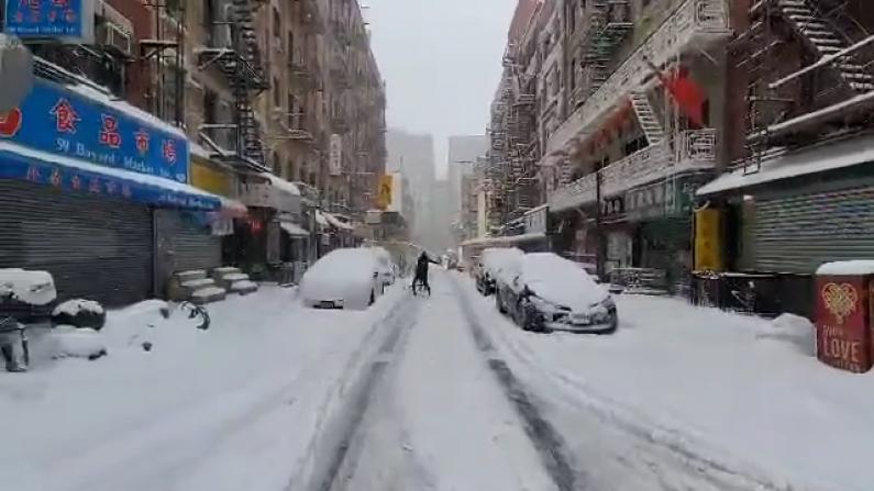 2021年首场暴雪来袭!纽约华埠寸步难行 商家超9成关门