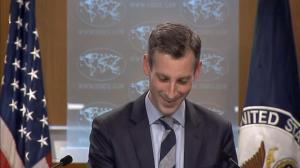 """【现场】记者就""""一个中国""""政策发问 美国务院发言人卡壳"""