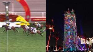 欢度新春:香港赛马会牛年首赛 海口钟楼演光影秀