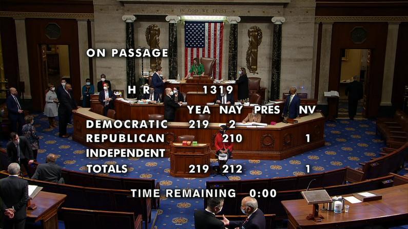 众院通过$1.9万亿纾困预算 拜登吁参院尽快行动