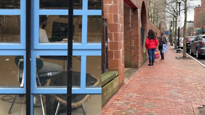 波士顿公校重开首日学生寥寥无几 华埠小学大门紧闭