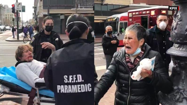 【现场】旧金山华裔老人再遭袭击 抄起木棍就反击