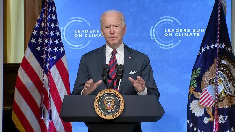 拜登气候峰会发言:美国2030年温室气体减排一半