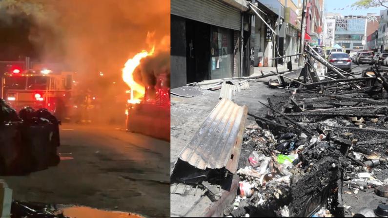 纵火垃圾桶殃及户外用餐区 纽约法拉盛大火餐馆损失惨重