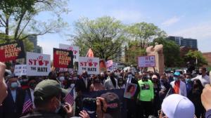 纽约法拉盛反对仇恨亚裔犯罪大游行:这里是美国 没有人应生活在恐惧中
