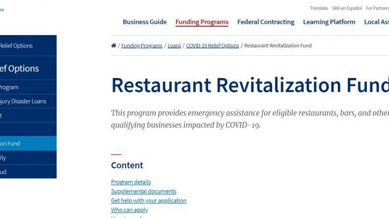 SBA新一轮餐饮业$286亿补助开始申请