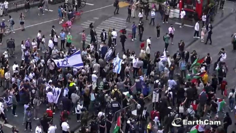 以巴支持者纽约时报广场发生冲突 挥舞旗帜拳打脚踢