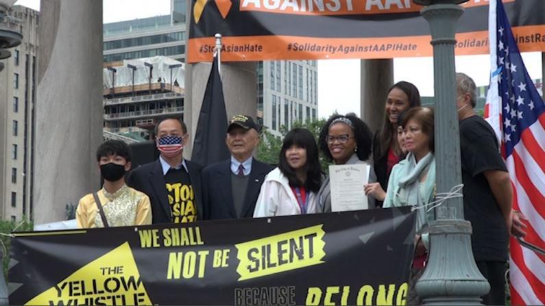 波士顿反仇恨亚裔集会 各族裔社区代表呼吁团结
