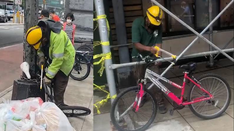 拍到狂贼当街锯自行车锁却束手无策 纽约华人民间巡逻队吁失主报警