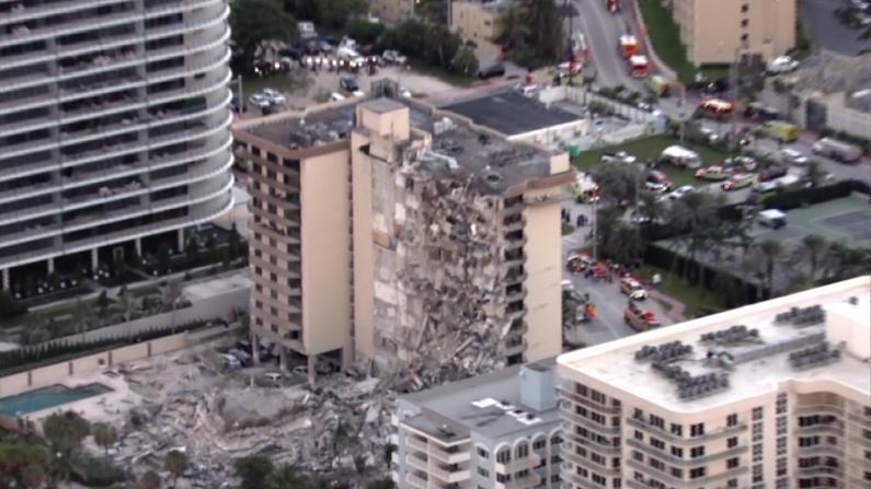 迈阿密海滩公寓半边坍塌多人死伤 现场碎片满地数十人仍失踪