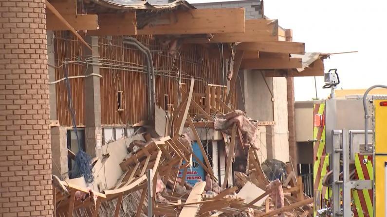 拉斯维加斯一超市清晨突然部分坍塌 20多人被困4人受伤
