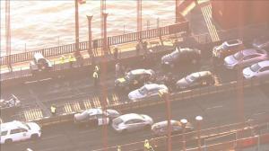 """抗议移民政策""""光说不做"""" 示威者堵塞金门大桥早高峰交通"""