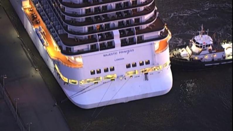 """时隔19个月 旧金山港迎来首艘游轮""""盛世公主号"""""""