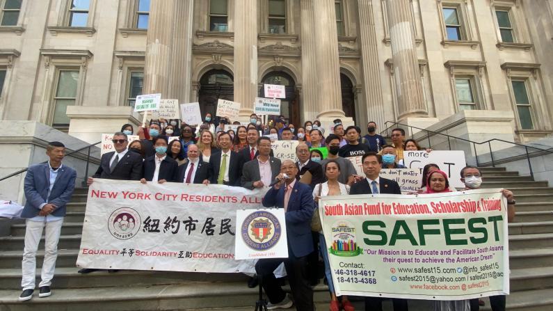 """近百纽约家长抗议市长""""天才班""""决定:不该取消 反而应增多"""